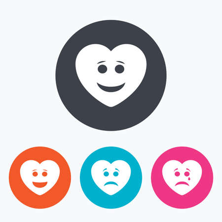 smiling faces: Heart smile face icons. Happy, sad, cry signs. Happy smiley chat symbol. Sadness depression and crying signs. Circle flat buttons with icon.