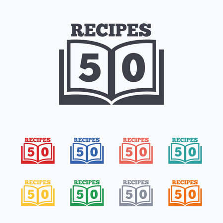 cookbook: Cookbook sign icon. 50 Recipes book symbol. Colored flat icons on white background.