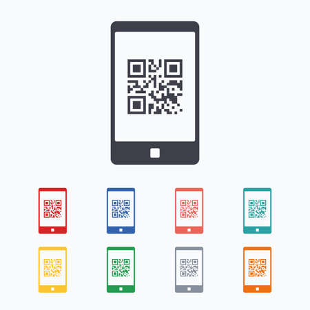 coded: Qr code sign icon. Scan code in smartphone symbol. Coded word - success! Colored flat icons on white background. Illustration