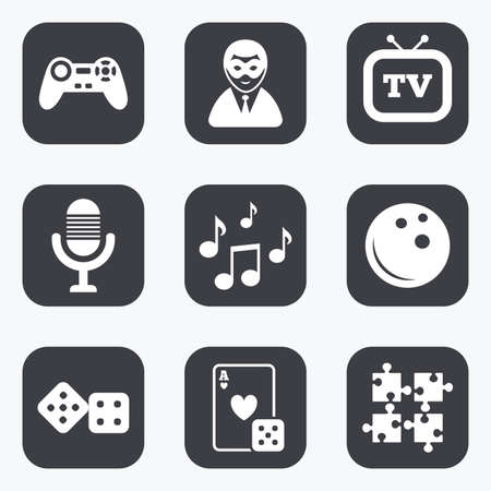 puzzle corners: Entertainment icons. Game, bowling and puzzle signs. Casino, carnival and musical note symbols. Flat square buttons with rounded corners.