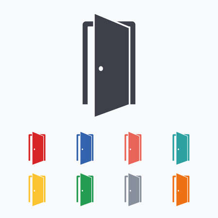 ajar: Door sign icon. Enter or exit symbol. Internal door. Colored flat icons on white background. Illustration