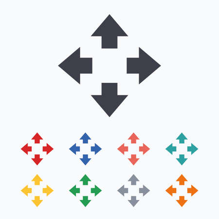 fullscreen: Fullscreen sign icon. Arrows symbol. Icon for App. Colored flat icons on white background. Illustration