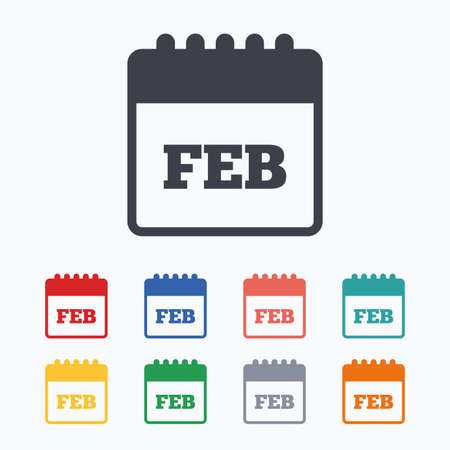 date stamp: Calendar sign icon. February month symbol. Colored flat icons on white background. Illustration