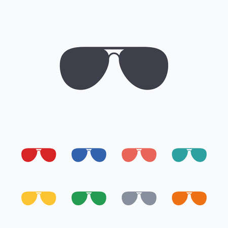 aviator: Aviator sunglasses sign icon. Pilot glasses button. Colored flat icons on white background.