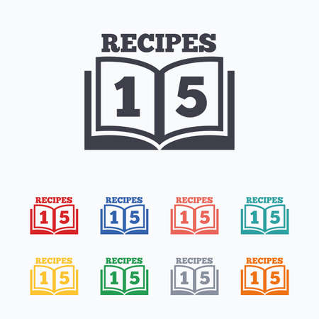 15: Cookbook sign icon. 15 Recipes book symbol. Colored flat icons on white background.