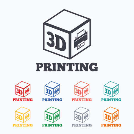 additive: 3D Print sign icon. 3d cube Printing symbol. Additive manufacturing. Colored flat icons on white background.