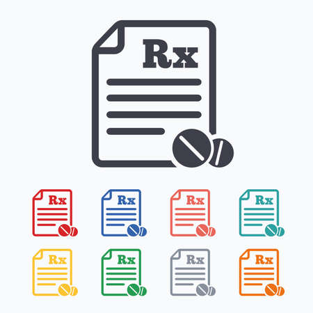 rx: Medical prescription Rx sign icon. Pharmacy or medicine symbol. With round tablets. Colored flat icons on white background.