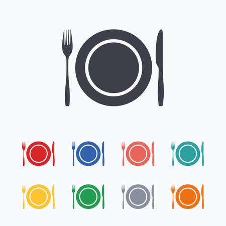 etiquette: Plate dish with fork and knife. Eat sign icon. Cutlery etiquette rules symbol. Colored flat icons on white background.