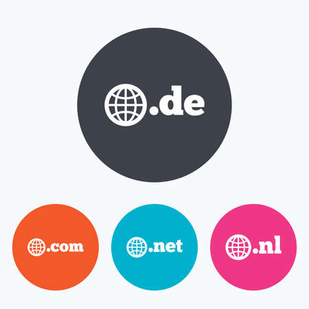 nl: Top-level internet domain icons. De, Com, Net and Nl symbols with globe. Unique national DNS names. Circle flat buttons with icon.
