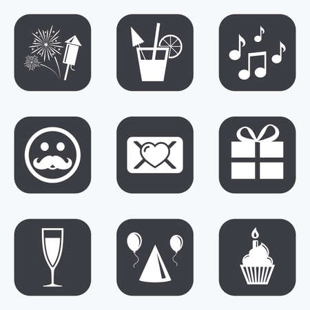 square button: Party celebration, birthday icons. Musical notes, air balloon and champagne glass signs. Gift box, fireworks and cocktail symbols. Flat square buttons with rounded corners. Illustration