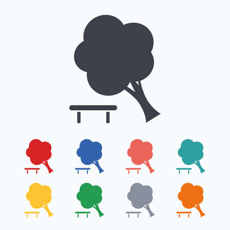break down: Falling tree sign icon. Caution break down tree symbol. Colored flat icons on white background. Illustration