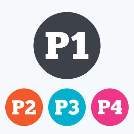 second floor: Car parking icons. First, second, third and four floor signs. P1, P2, P3 and P4 symbols. Circle flat buttons with icon. Illustration