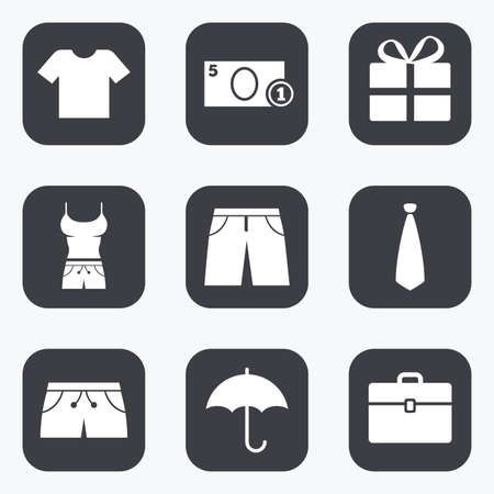 business case: Clothing, accessories icons. T-shirt, business case signs. Umbrella and gift box symbols. Flat square buttons with rounded corners. Illustration