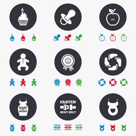newborn footprint: Pregnancy, maternity and baby care icons. Apple, award and pacifier signs. Footprint, birthday cake and newborn symbols. Flat circle buttons with icons. Illustration