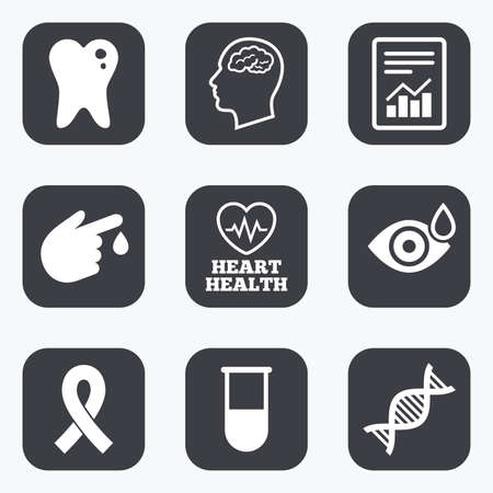 neurology: Medicine, medical health and diagnosis icons. Blood test, dna and neurology signs. Tooth, report symbols. Flat square buttons with rounded corners.