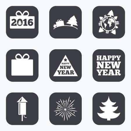 salut: Christmas, new year icons. Gift box, fireworks signs. Santa bag, salut and rocket symbols. Flat square buttons with rounded corners.