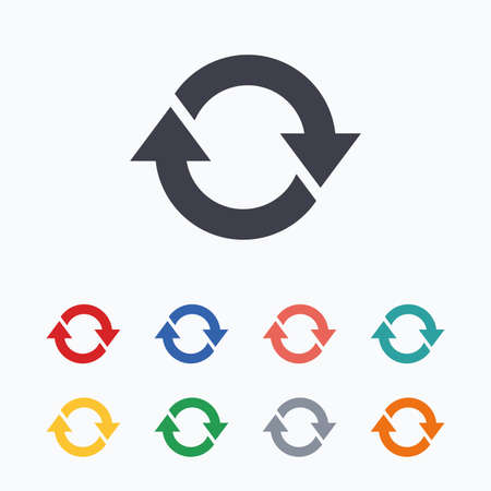 Rotation icon. Repeat symbol. Refresh sign. Colored flat icons on white background.