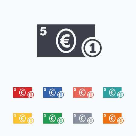eur: Cash sign icon. Euro Money symbol. EUR Coin and paper money. Colored flat icons on white background. Illustration