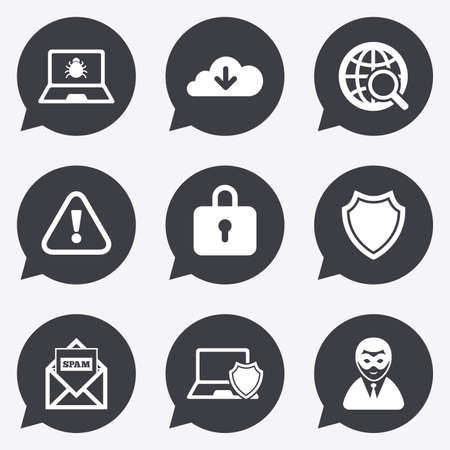 Internet privacy icons. Cyber crime signs. Virus, spam e-mail and anonymous user symbols. Flat icons in speech bubble pointers. Illustration