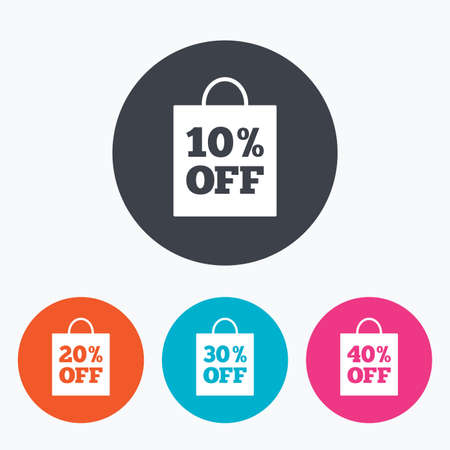 20 30: Sale bag tag icons. Discount special offer symbols. 10%, 20%, 30% and 40% percent off signs. Circle flat buttons with icon. Illustration