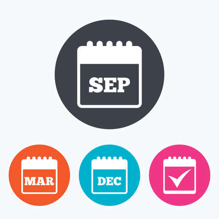 tick symbol: Calendar icons. September, March and December month symbols. Check or Tick sign. Date or event reminder. Circle flat buttons with icon. Illustration