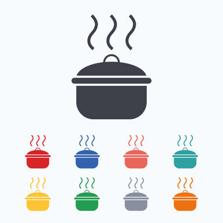 stew pan: Cooking pan sign icon. Boil or stew food symbol. Colored flat icons on white background.