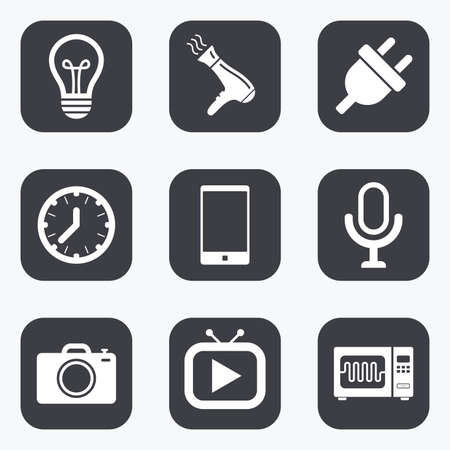 Home appliances, device icons. Electronics signs. Lamp, electrical plug and photo camera symbols. Flat square buttons with rounded corners. Illustration