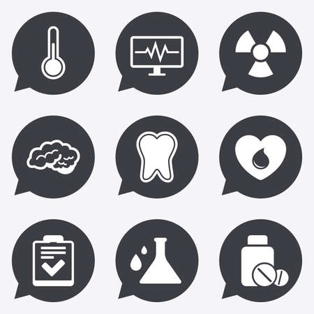 arrow poison: Medicine, medical health and diagnosis icons. Blood donate, thermometer and pills signs. Tooth, neurology symbols. Flat icons in speech bubble pointers.