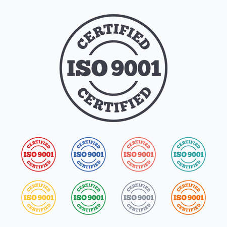 verified stamp: ISO 9001 certified sign icon. Certification stamp. Colored flat icons on white background.