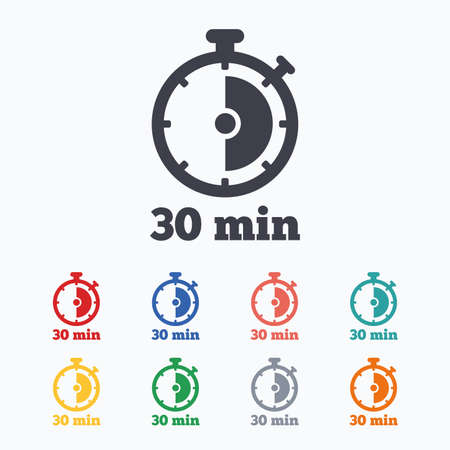 Timer sign icon. 30 minutes stopwatch symbol. Colored flat icons on white background.