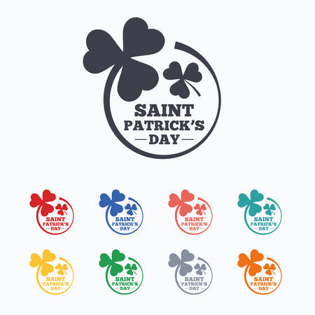 shamrock: Clovers in circle with three leaves sign icon. Saint Patrick trefoil shamrock symbol. Colored flat icons on white background. Illustration