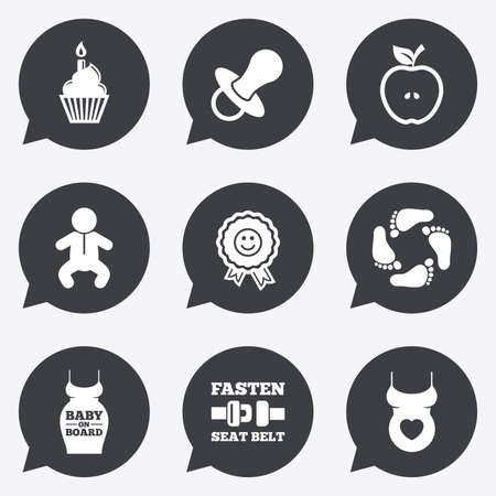 newborn footprint: Pregnancy, maternity and baby care icons. Apple, award and pacifier signs. Footprint, birthday cake and newborn symbols. Flat icons in speech bubble pointers. Illustration