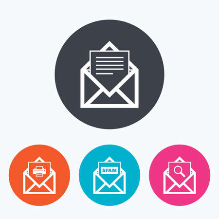 webmail: Mail envelope icons. Print message document symbol. Post office letter signs. Spam mails and search message icons. Circle flat buttons with icon.