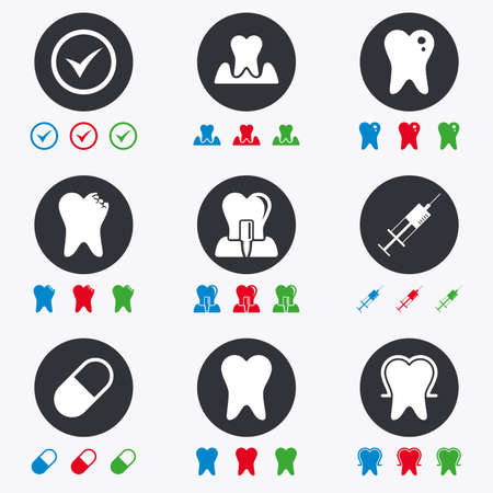 periodontal: Tooth, dental care icons. Stomatology, syringe and implant signs. Healthy teeth, caries and pills symbols. Flat circle buttons with icons.