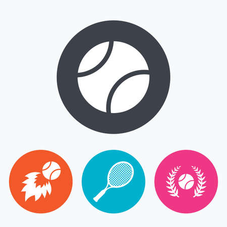 fireball: Tennis ball and racket icons. Fast fireball sign. Sport laurel wreath winner award symbol. Circle flat buttons with icon.