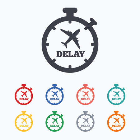 delayed: Delayed flight sign icon. Airport delay timer symbol. Airplane icon. Colored flat icons on white background.