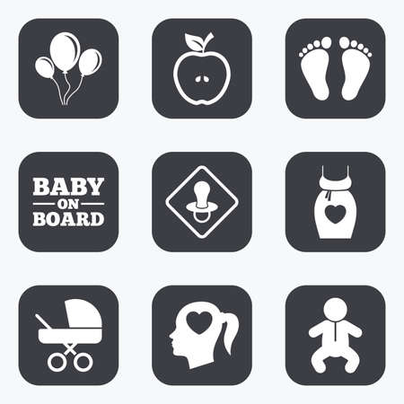 newborn footprint: Pregnancy, maternity and baby care icons. Air balloon, baby carriage and pacifier signs. Footprint, apple and newborn symbols. Flat square buttons with rounded corners.