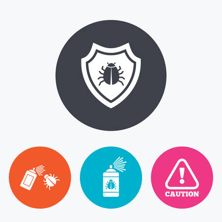 insanitary: Bug disinfection icons. Caution attention and shield symbols. Insect fumigation spray sign. Circle flat buttons with icon.