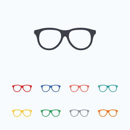 eyeglass: Retro glasses sign icon. Eyeglass frame symbol. Colored flat icons on white background.