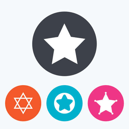 zion: Star of David icons. Sheriff police sign. Symbol of Israel. Circle flat buttons with icon. Illustration