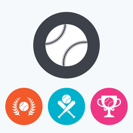 crosswise: Baseball sport icons. Ball with glove and two crosswise bats signs. Winner award cup symbol. Circle flat buttons with icon. Illustration