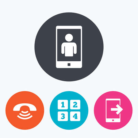 video call: Phone icons. Smartphone video call sign. Call center support symbol. Cellphone keyboard symbol. Circle flat buttons with icon. Illustration