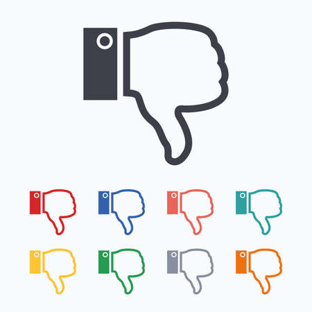 Dislike sign icon. Thumb down sign. Hand finger down symbol. Colored flat icons on white background.