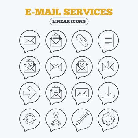refrescar: Servicios de correo iconos. Enviar correo, clip y descarga símbolos de flecha. Tijeras, lápiz y refrescar signos esquema fino. Recibir, seleccionar y eliminar el correo. iconos lineales en burbujas de discurso.