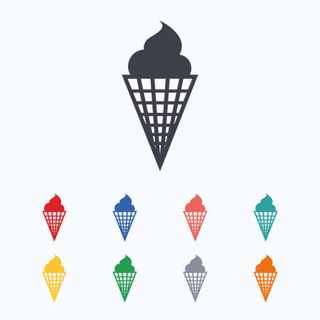 waffle cone: Ice Cream in waffle cone sign icon. Sweet symbol. Colored flat icons on white background.