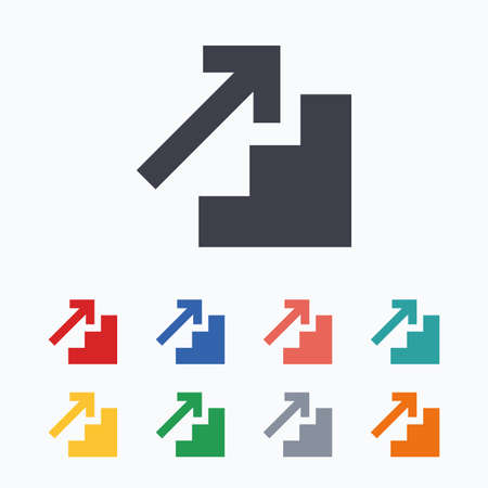 upstairs: Upstairs icon. Up arrow sign. Colored flat icons on white background.
