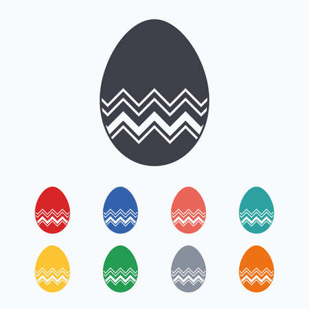 tradition: Easter egg sign icon. Easter tradition symbol. Colored flat icons on white background.