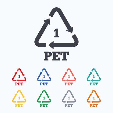 PET 1 icon. Polyethyleentereftalaat teken. Recycling symbool. Flessen verpakking. Gekleurde vlakke pictogrammen op een witte achtergrond. Stock Illustratie