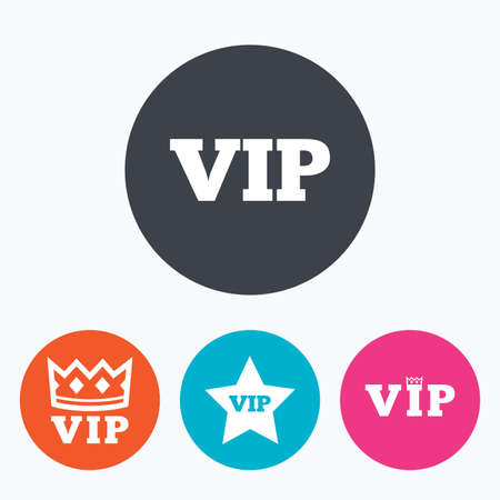 celebrities: VIP icons. Very important person symbols. King crown and star signs. Circle flat buttons with icon.