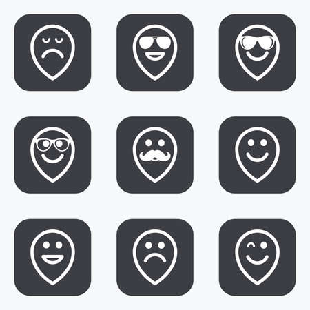 wink: Smile pointers icons. Happy, sad and wink faces signs. Sunglasses, mustache and laughing lol smiley symbols. Flat square buttons with rounded corners.